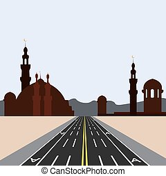 East city on the horizon. Direct road highway with markup. Dedicated lanes for public transport illustration