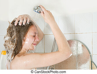 girl   with shower