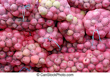 ripe apples in a mesh bags for industry - picture of a ripe...