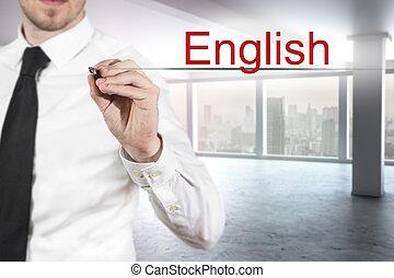 homem negócios, escrita, inglês, em, a, ar