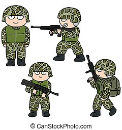 vector set of soldier