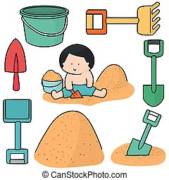vector set of kid playing sand