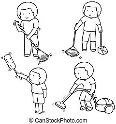 vector set of man cleaning