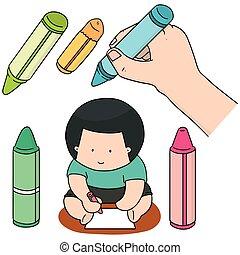 vector set of crayon