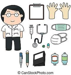 vector set of doctor