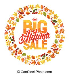 Autumn sale - Seasonal autumn sales rounded design with...