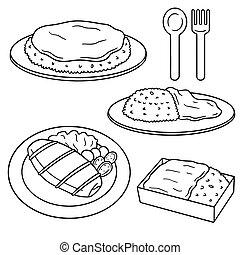 vector set of omelette rice