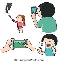 vector set of smartphone addiction