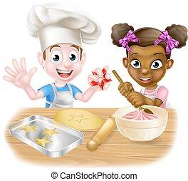 Cartoon Children Baking - Cartoon boy and girl children, one...