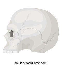 Skull icon in monochrome style isolated on white background.   white magic symbol stock vector illustration.