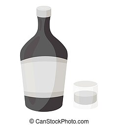 Liqueur icon in monochrome style isolated on white background. Alcohol symbol stock vector illustration.