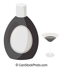 Chocolate liqueur icon in monochrome style isolated on white...