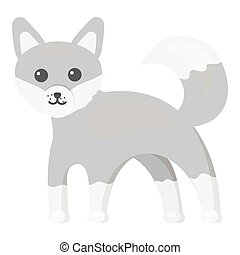 Fox icon monochrome. Singe animal icon from the big animals...