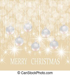 Christmas, New year holiday card with silver balls illustration