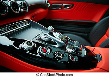 Detail of modern car interior, gear stick, automatic...