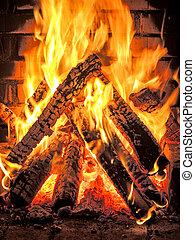 fierce fire in the fire place