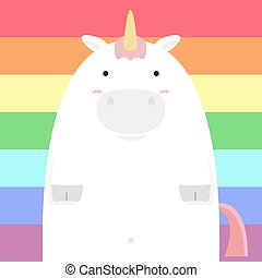 cute fat big unicorn horse
