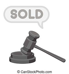 Auction hammer icon in monochrome style isolated on white background. E-commerce symbol stock vector illustration.