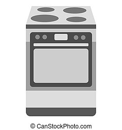 Kitchen stove icon in monochrome style isolated on white...