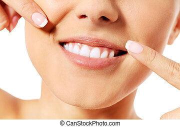 美麗, 概念, 她, 指, 牙齒,  -, 婦女, 健康, 牙齒