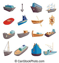 Sea transport icons set, cartoon style - Sea transport icons...