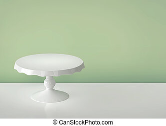Porcelain cake stand on green background 3D rendering