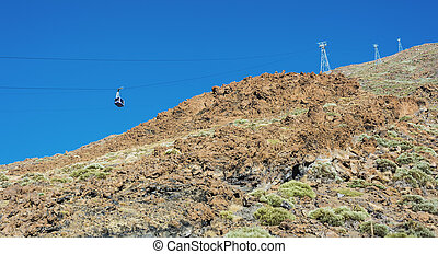 The cable car for ascent and descent of tourists to the...
