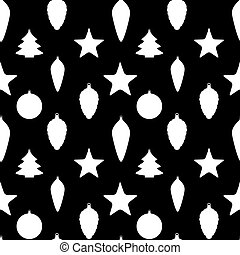 Abstract Beauty Christmas and  New Year Seamless Pattern Background with Decoration Toys and Balls. Vector Illustration