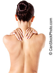 Awful backache, isolated, white background. - Awful...