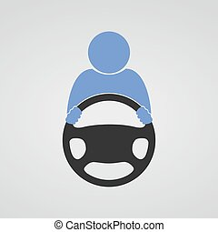 Steering wheel icon. Vector. - Schematic drawing of the...