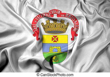Waving Flag of Porto Alegre, Rio Grande do Sul, Brazil