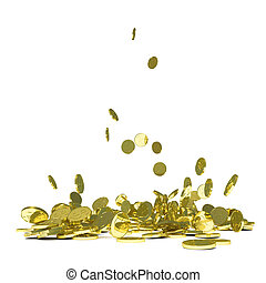 Falling gold coins, isolated on white 3D illustration