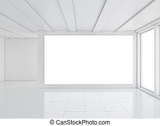 White clean room. 3D illustration - Architecture...