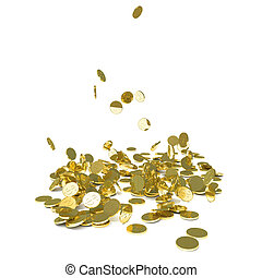 Falling gold coins, isolated on white. 3D illustration