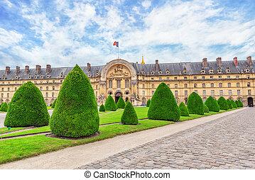 Park near main entrance to  Les Invalides. Paris, France.