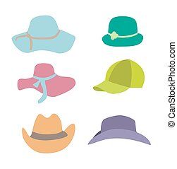 Summer Fashion Beach Accessories Hats Collection Set Vector Illustration