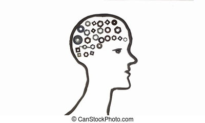 idea concept human brain - human clay silhouette animation...