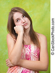 Teen girl having disappointment in first love