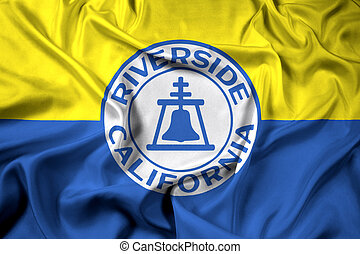 Waving Flag of Riverside, California, USA