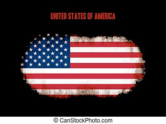 Grunge US flag on dark background vector illustration