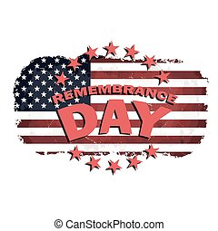 us remembrance day vector - us grunge style flag with...