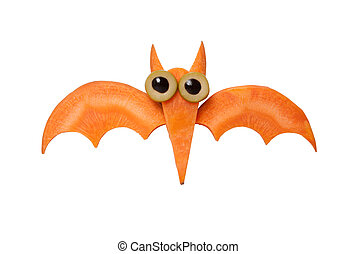 Funny Halloween bat made of carrot on white background