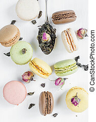 Multicoloured macaroons and tea - Multicoloured macaroons,...