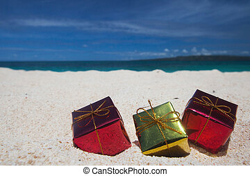Holiday gifts on beach