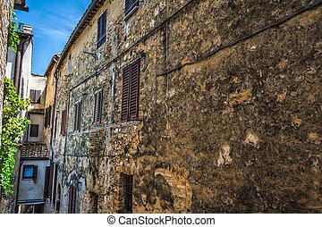 narrow backstreet in Tuscany - narrow backstreet in San...