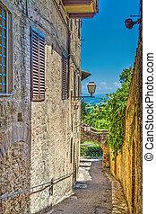 narrow backstreet in San Gimignano, Italy
