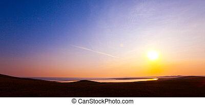 Lake on sunset - Sunset scene on the lake