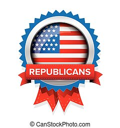Republicans election badge with ribbon