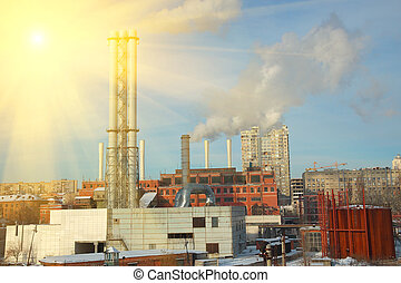 Heat powr plant - Heat power plant on a sunny and frosty...