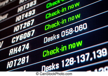 board panel with all check-in flights